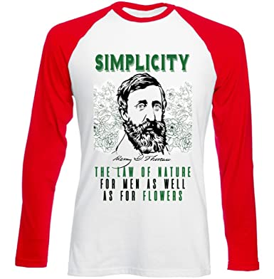 Teesquare1st Mens Henry David Thoreau Simplicity Quote Red Long