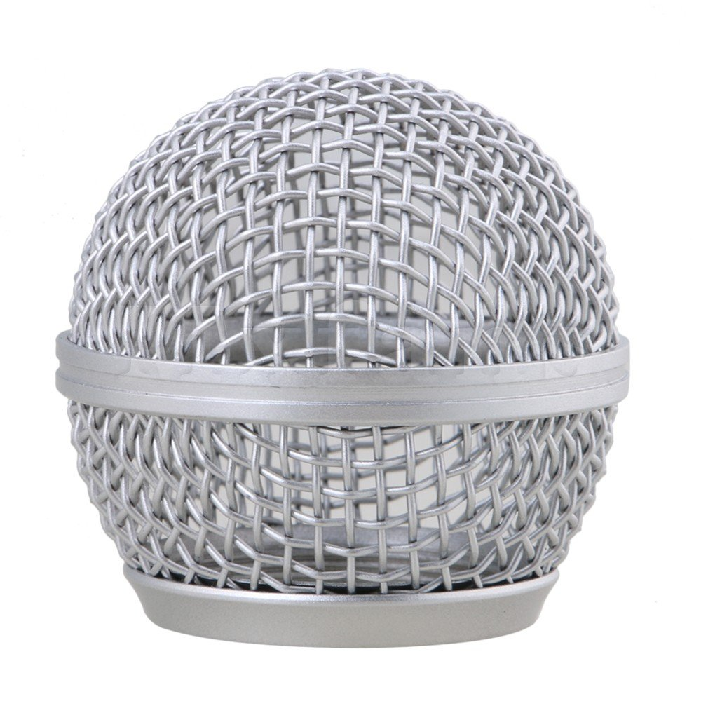 Yibuy Chrome Hardened Steel-Mesh Microphone Ball Head Mesh Grill for SM58