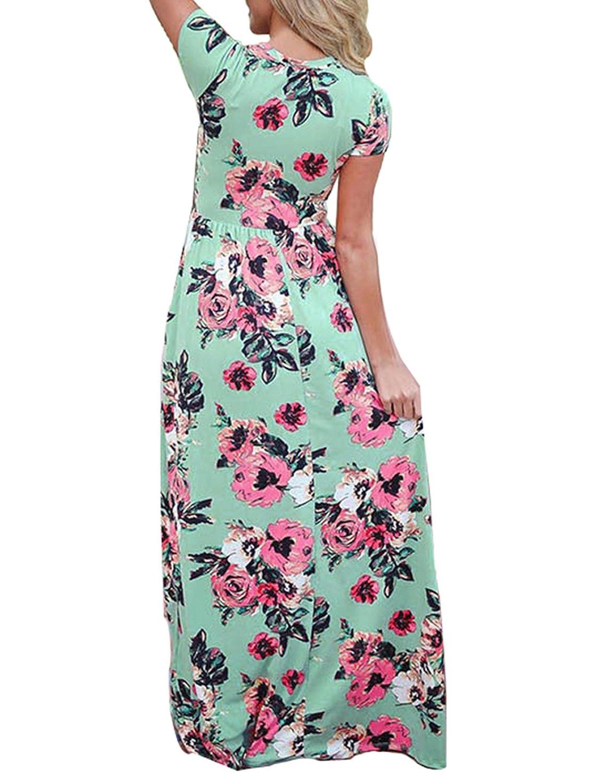 09cf933a644cb Landove Vestito Lungo Elegante Donna Cerimonia Abito Maniche 3 4 Vestiti  Stampa Floreale Scollo a ingrandisci