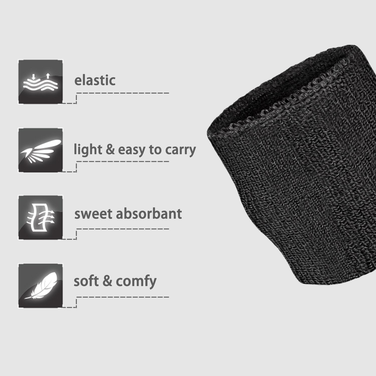 Elehere 2018 New Sweatband Wristband for Sports Basketball Football Absorbent Party Outdoor 3.5'' Pack of 6 (Black- Headbands & Wristbands) by Elehere (Image #5)