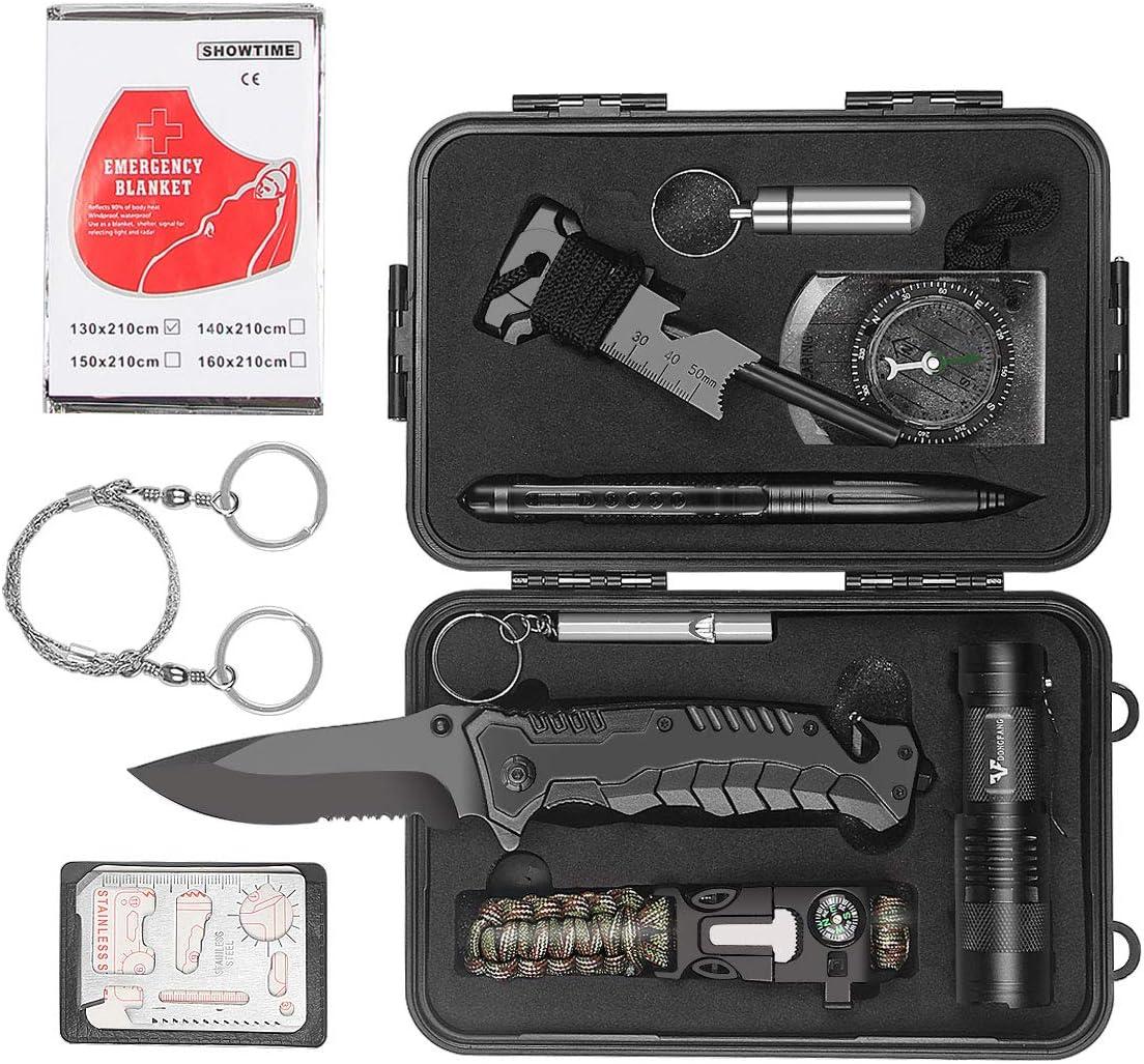 VF DONGFANG Survival kit,12in1 Survival Gear Gifts for Men Him Husband Dad Boyfriend Boys,Gifts Ideas for Hiking/Emergency kit.Survival Bracelet/Emergency Blanket/Tactical Flashlight-Camping Gear