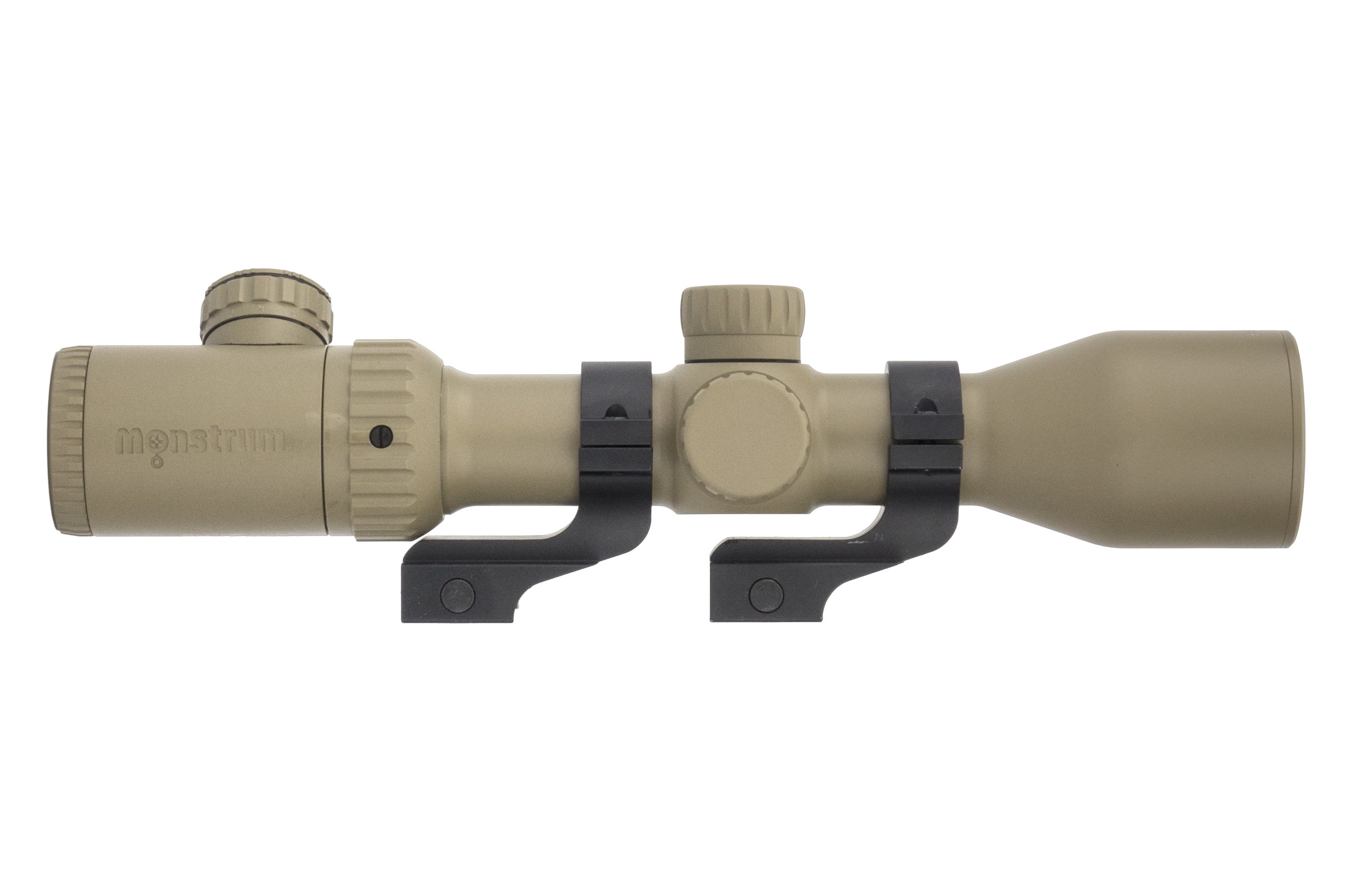 Monstrum Tactical 3-12x42 AO Rifle Scope with Illuminated Mil-Dot Reticle and Offset Reversible Scope Rings (Flat Dark Earth)