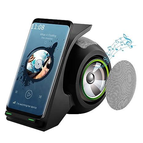 ACZZ Cargador inalámbrico rápido con altavoz Bluetooth ...