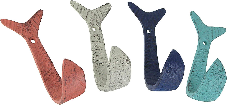 Zeckos Set of 4 Cast Iron Flipping Fish Decorative Wall Hooks Coastal Beach Towel Hanging Decor Rustic Key or Coat Rack