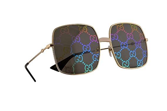 Gucci GG0414S Gafas De Sol Doradas Con Lentes Multicolor de ...