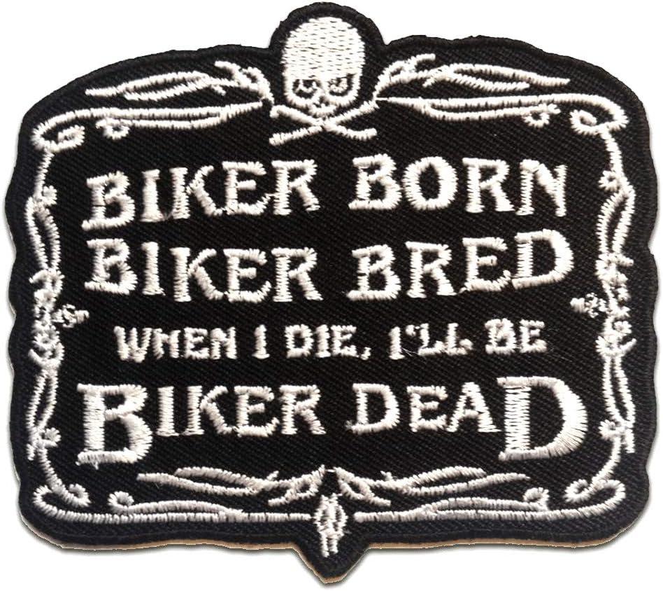 patches brode appliques BIKER BORN ….. - noir Ecusson 9x8.2cm