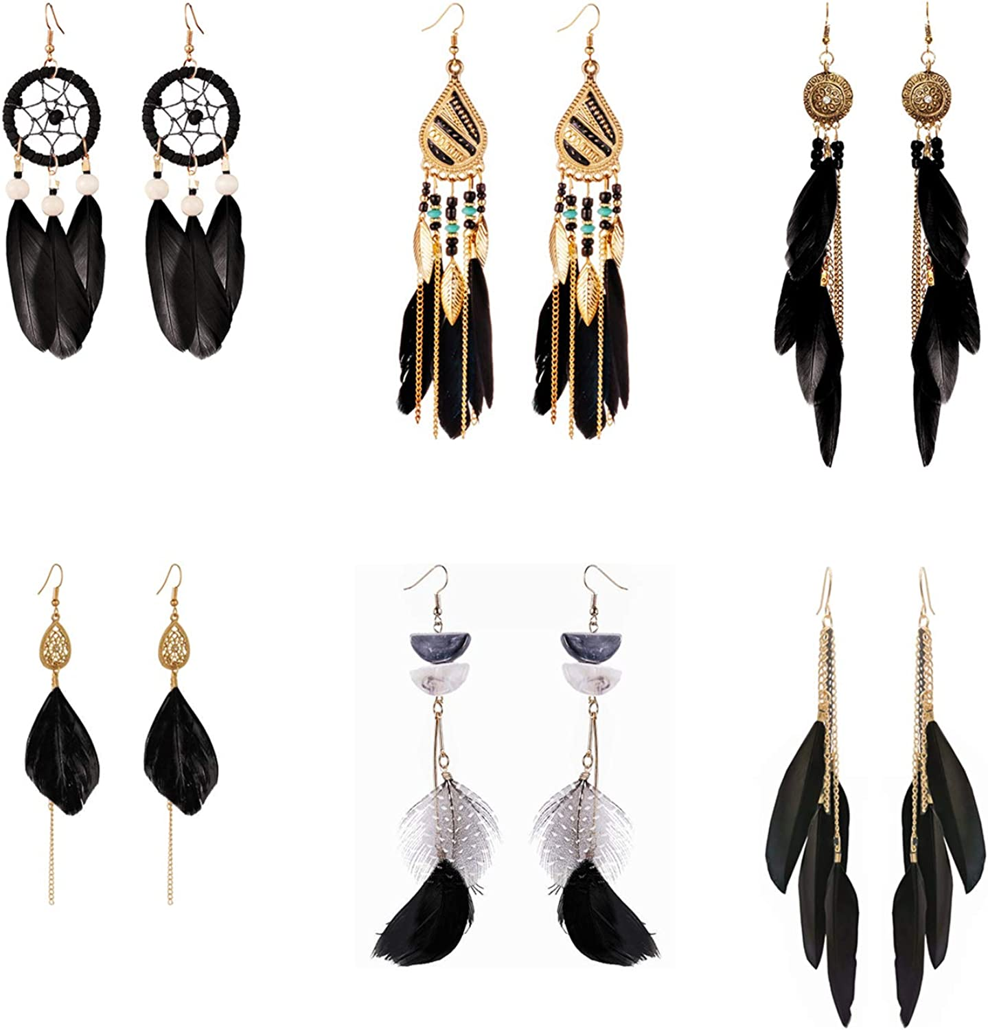 Colorful Bohemian Feather Dangle Drop Earring Gifts for Women Girls Jewelry000001001845