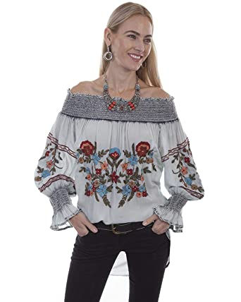 c494fea87627bd Scully Women s Honey Creek by Blue Off The Shoulder Embroidered Tunic Top -  Hc400 at Amazon Women s Clothing store