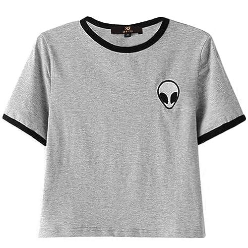 ISASSY Giacca da ragazza casual Stripe Alien stampa manica corta girocollo T shirt crop top camicett...