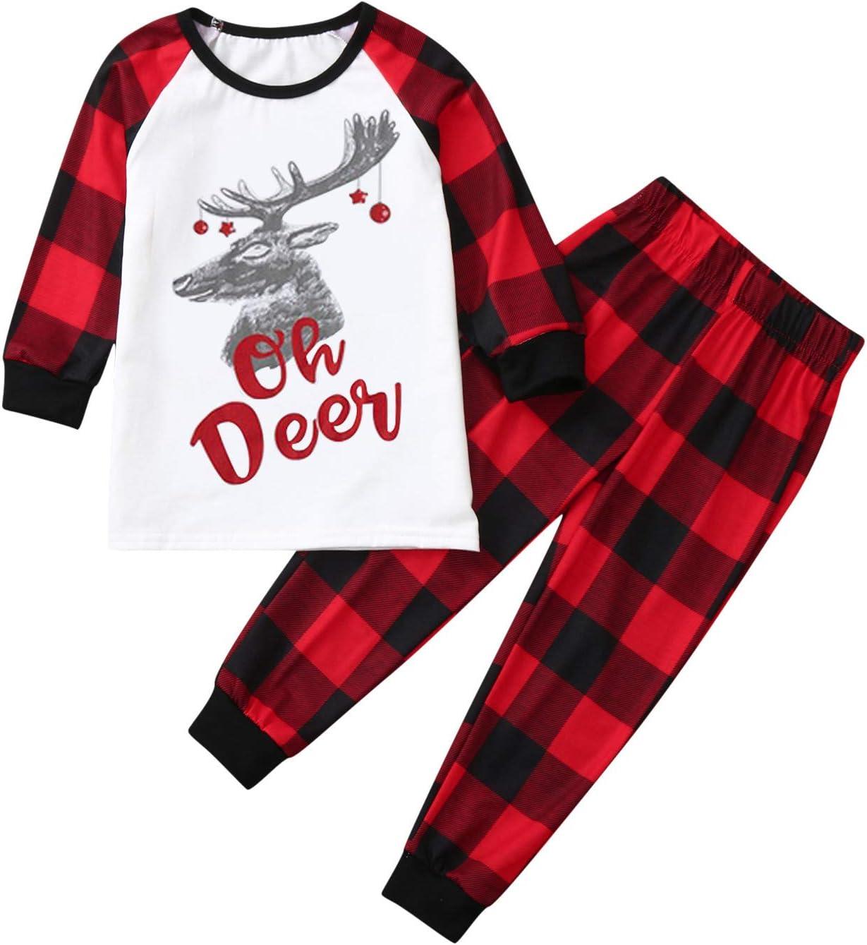 HEWUQI Oh Deer Matching Family Christmas Pajamas Sets for Women Men Boys Girls Plaid Parent-Child Sleepwear for Kids /& Adult