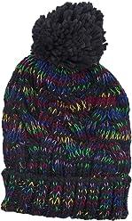 761d190744b Lux Accessories Black Rainbow Confetti Winter Beanie Pom Pom Hat