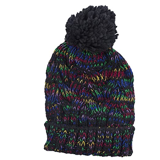 aa9ee5bb4b9 Image Unavailable. Image not available for. Color  Lux Accessories Black  Rainbow Confetti Winter Beanie Pom ...