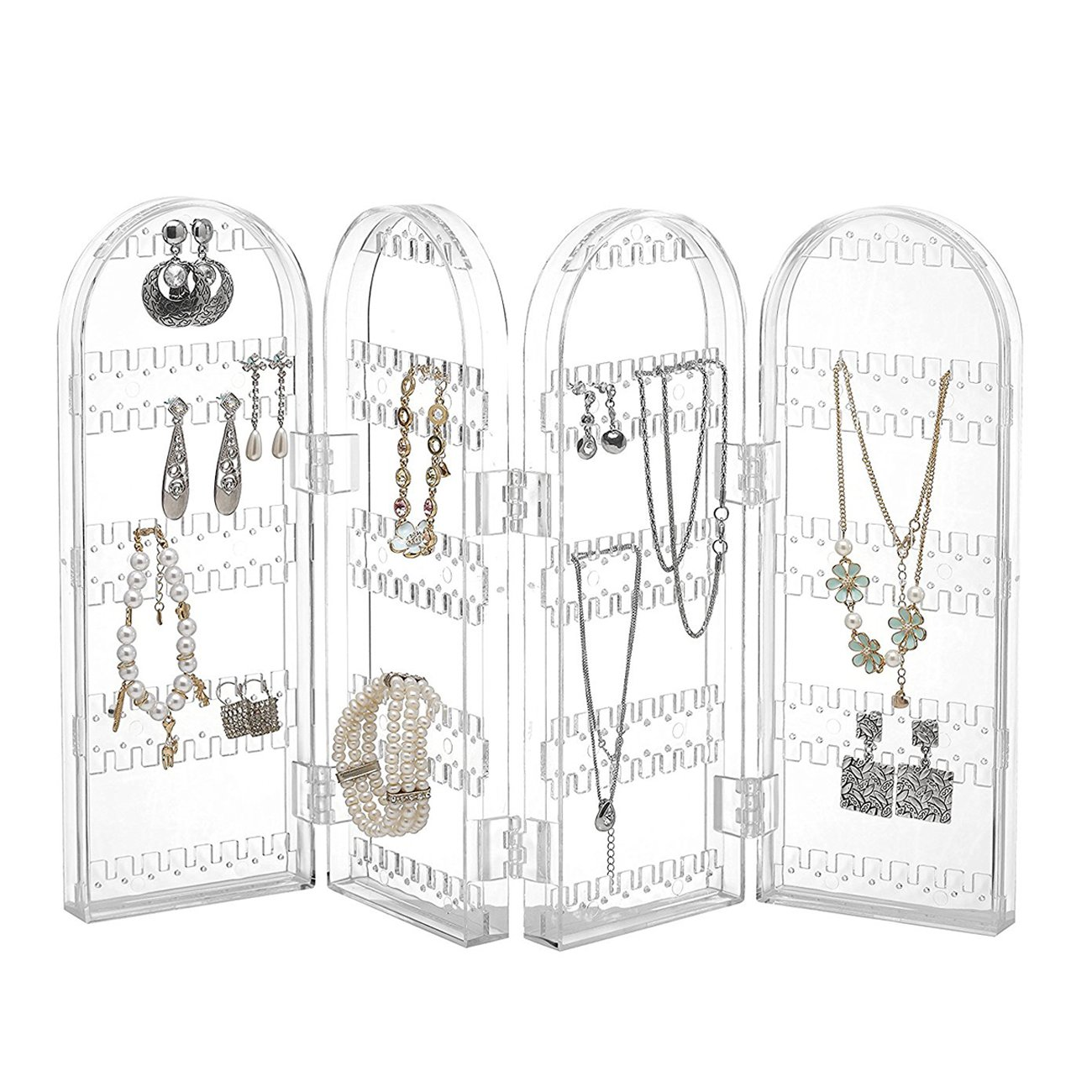 THEE Foldable Acrylic Jewelry Hanger Organizer Earring Necklace Bracelet Holder Display Stand