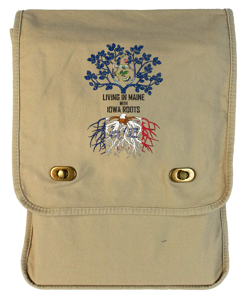 Tenacitee Living In Maine with Iowa Roots Putty Canvas Field Bag