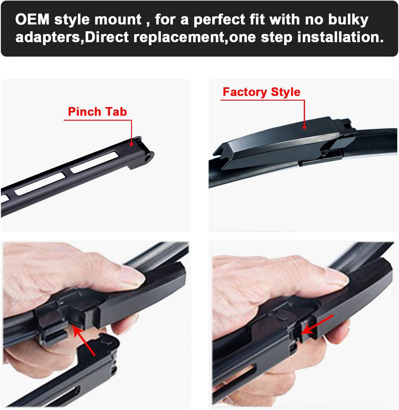 Pinch Tab 22//22 Set of 2 2 x Factory wipers for Audi A4 S4 Audi A6 S6 Audi Allroad 2002-2008 Windshield Wiper Blade Set