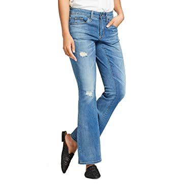 99f8b943d919b Universal Thread Women's Mid Rise Destructed Skinny Bootcut Jeans Light Wash  ...
