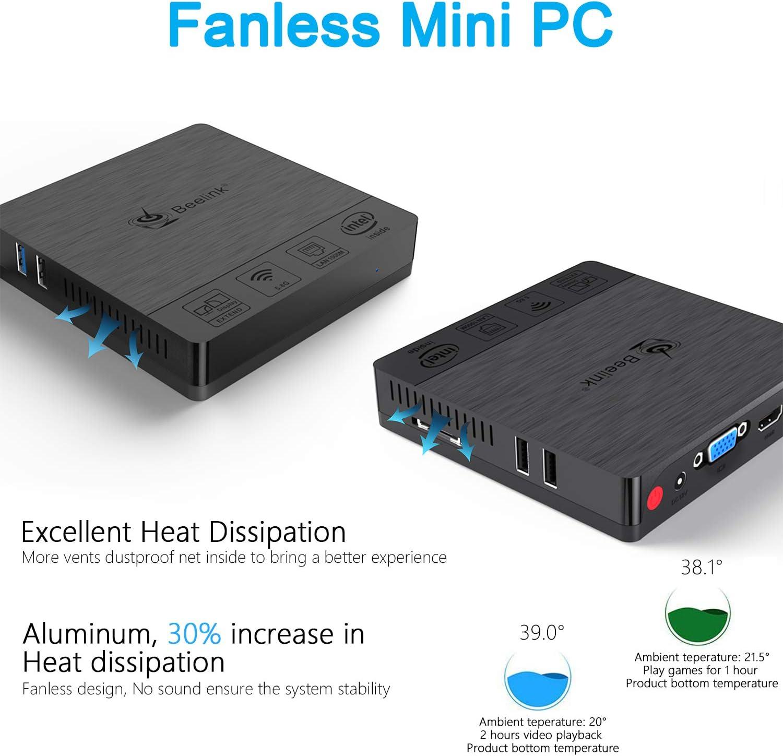 Beelink BT3 PRO Win 10 64-bit Mini Pc 4G+64GB 4K// HDMI /& VGA//2.4G+5.8GWiFi//1000Mbps LAN,Mini PC Fanless,Boot Auto Power On Intel Atom x5-Z8350 Processor