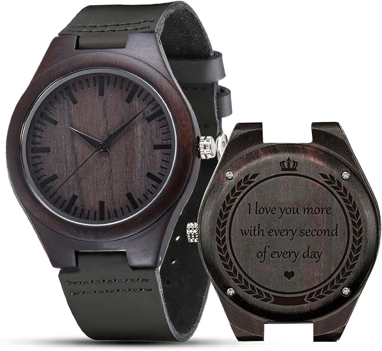Reloj de madera grabada, shifenmei S5520 Reloj de madera personalizado para hombres, mujeres, marido, esposa, padrino, cumpleaños, boda, aniversario, graduación, Navidad