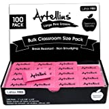 Pink Erasers Pack of 100 - Large Size, Latex & Smudge Free - Bulk School Supplies for Classrooms, Teachers, Homeschool, Offic
