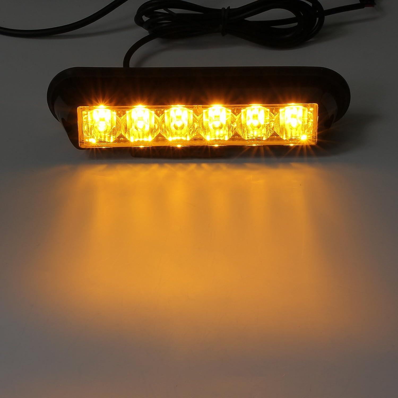 Justech 4PCS 4LEDs Strobe Lights Amber Hazard Warning Beacon Lights with Car Charger Emergency Lights Flashing Warning Light 12V 24V Universal for Car Vehicle Truck Trailer Caravan Camper Van