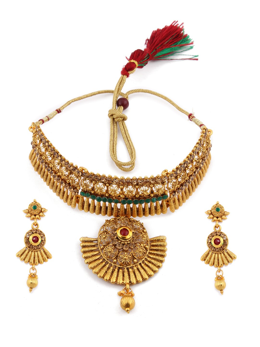 Rubans Gold Toned Traditional Indian Jewelry Set Bollywood Ethnic Wedding Bridal Faux Ruby and Emerald with Rhinestone Choker Necklace Set for Women