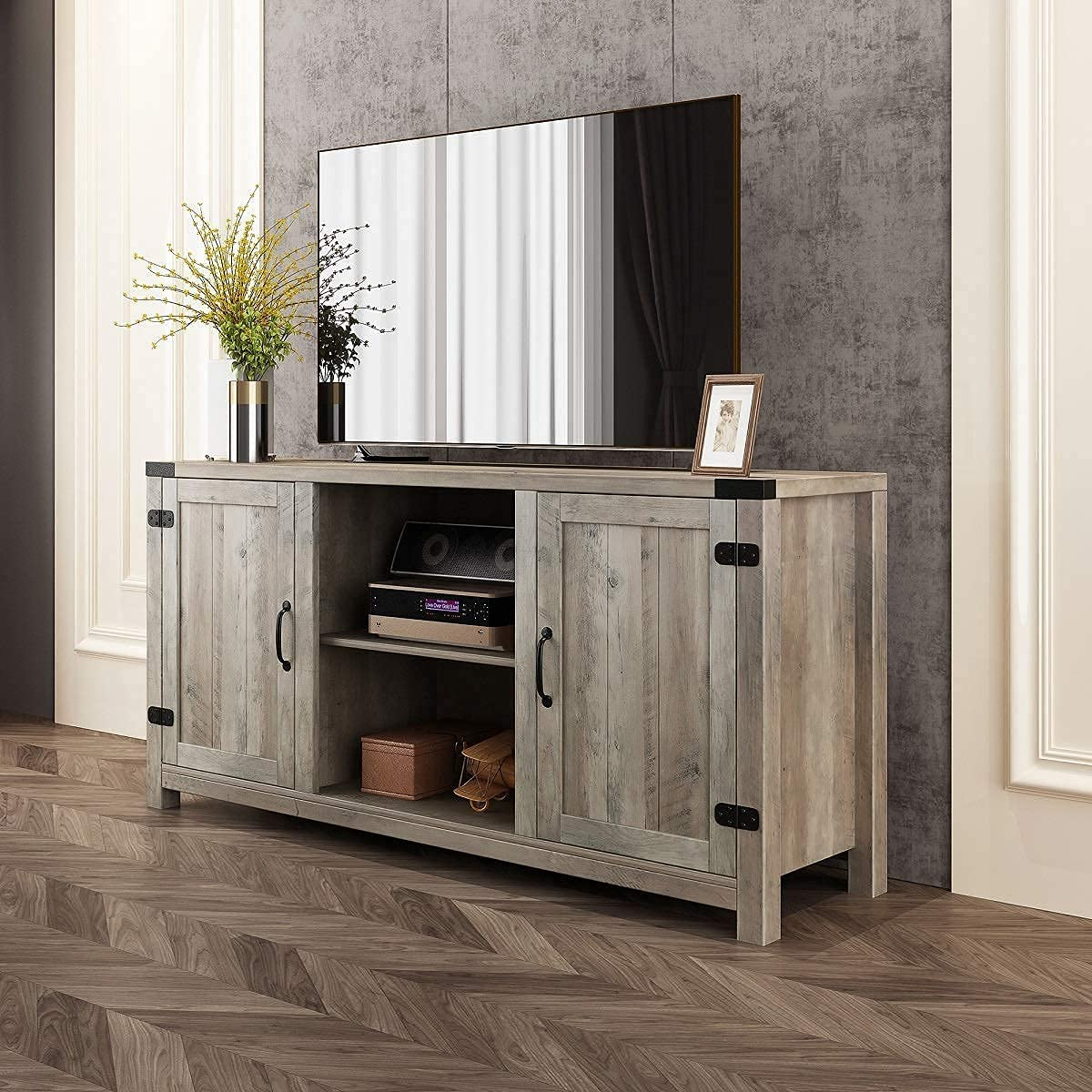 BAOLEJIA Tall TV Stand for 65 inch tv, TV Console Table in Rustic Gray Wash, TV Entertainment Center, Television Stands, 59 Inch