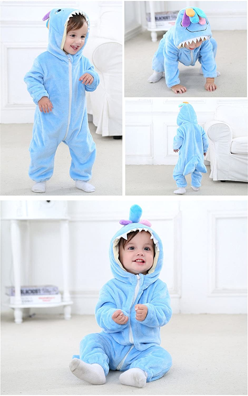 Unisex-Baby Flannel Crawling Clothes Animal Onesie Costume Cartoon Outfit Homewear
