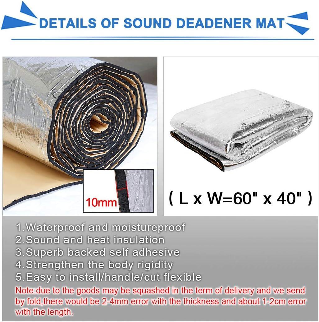 uxcell 394mil 16.36sqft Car Noise Sound Deadener Deadening Insulation Mat Waterproof and Moistureproof 60 x 40