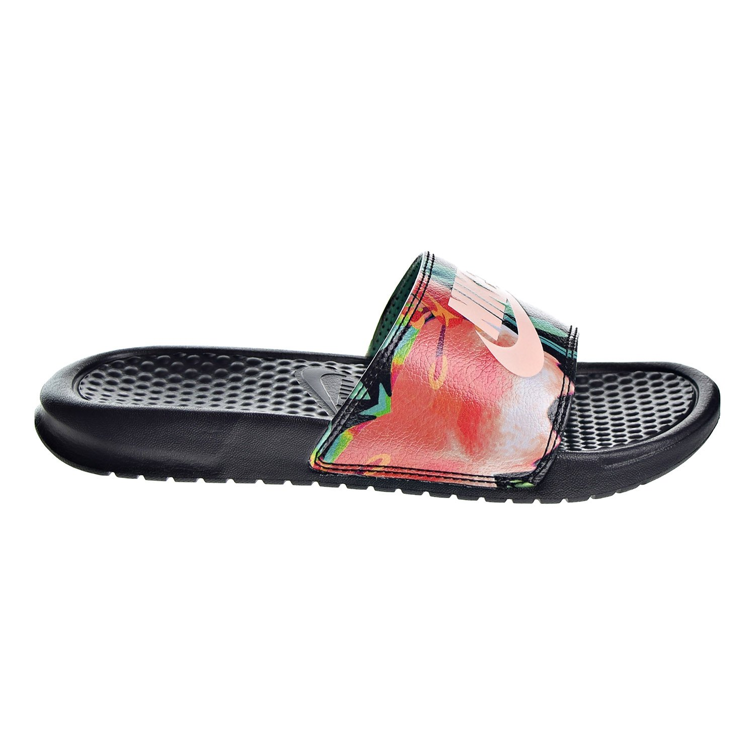 NIKE Women's Benassi Just Do It. Sandal Black B00SRSLHEK 5 B(M) US|Black/Crimson Tint/Green Glow