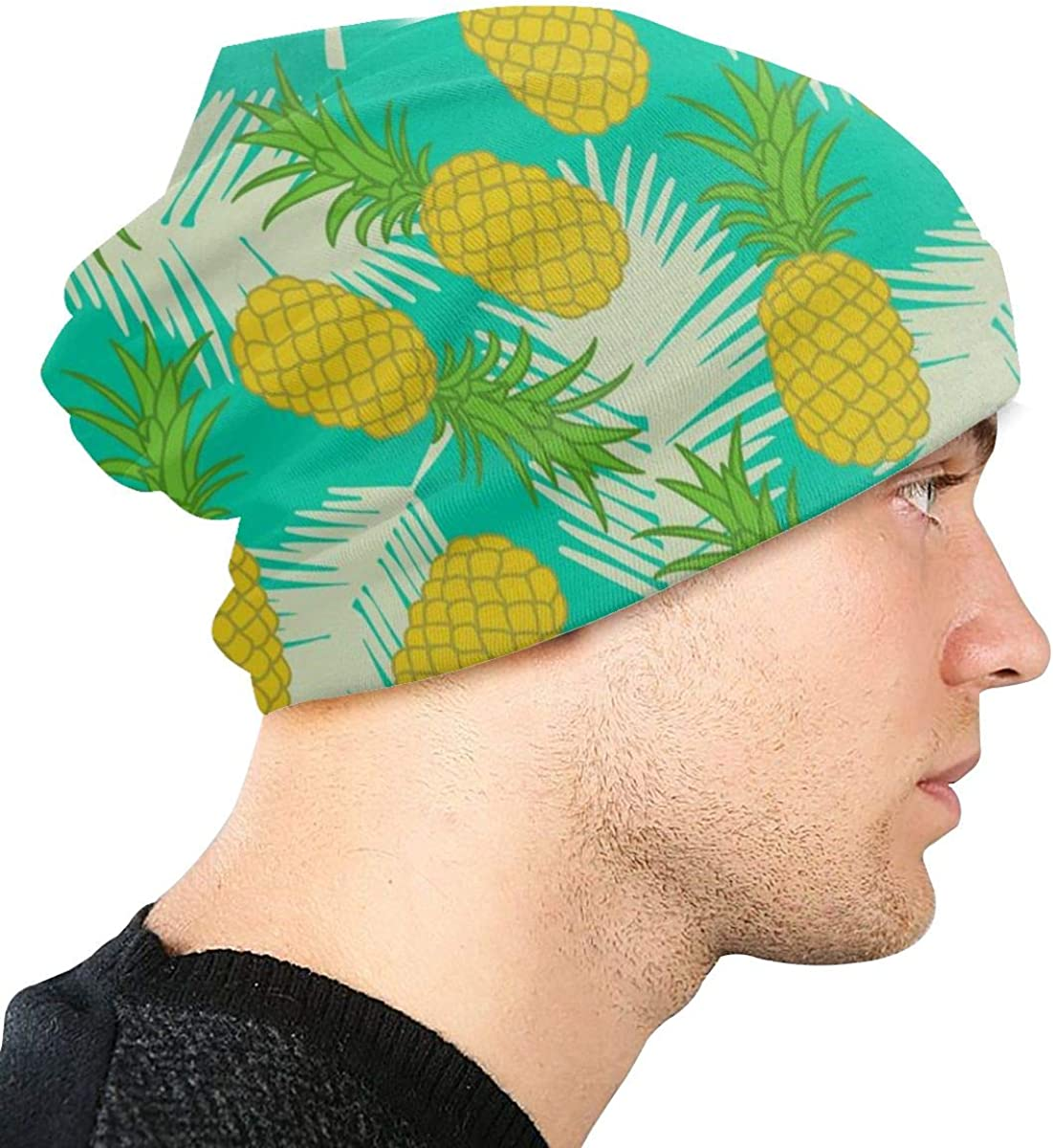 HHTZTCL Fruit Pineapple Mens Womens Winter Beanies Knit Hat Stretch Skull Cap Black