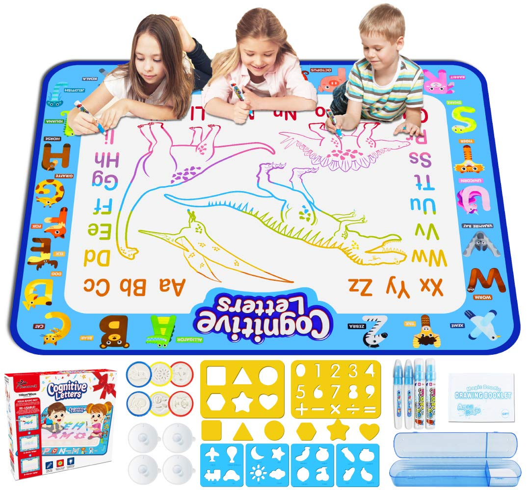 Jasonwell Aqua Magic Doodle Mat 40 X 32 Inches Extra Large Water Drawing Doodling Mat Coloring Mat Educational Toys Gifts for Kids Toddlers Boys Girls Age 3 4 5 6 7 8 Year Old