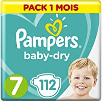 Pampers - Baby Dry - Couches Taille 7 (+15 kg) - Pack 1 mois (x112 couches)