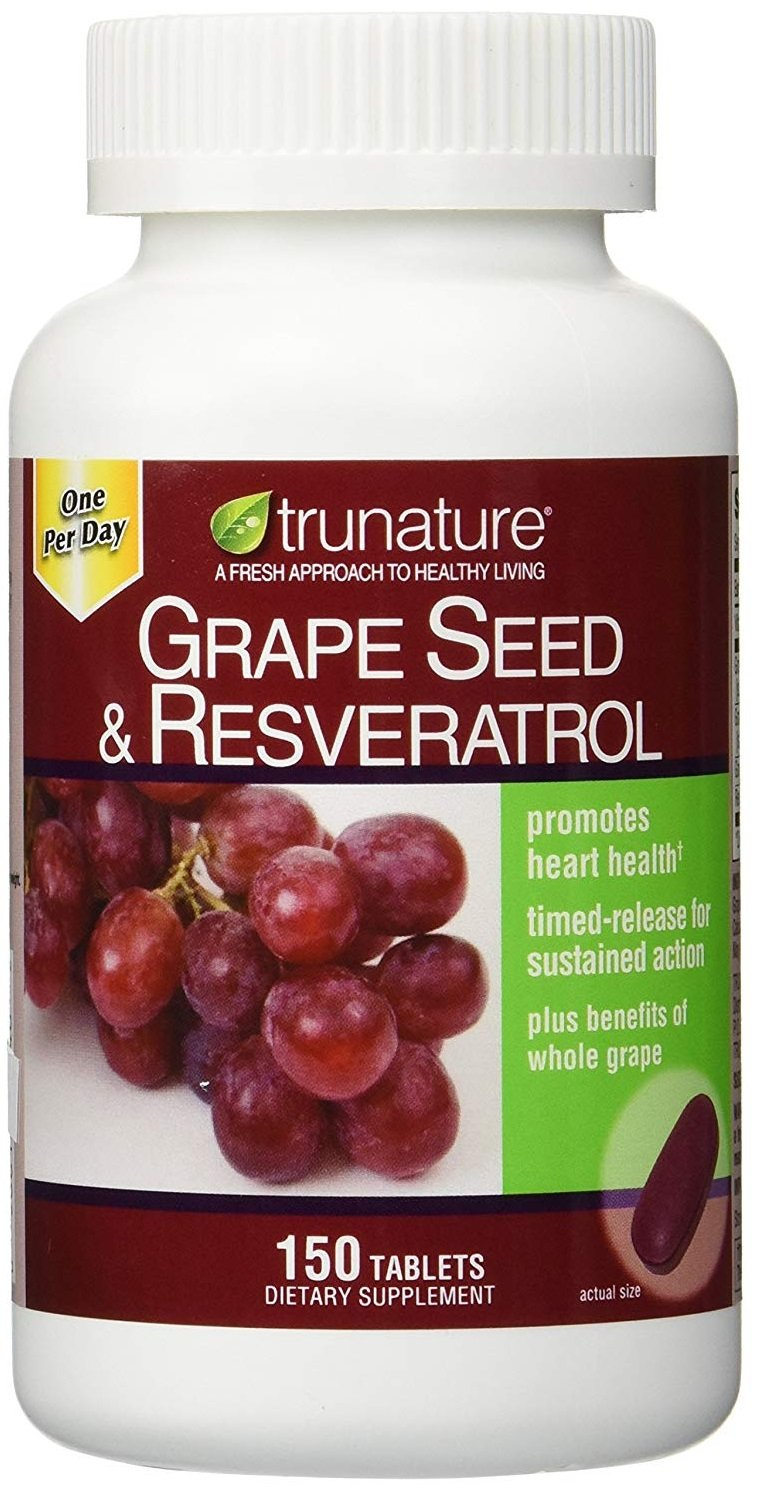 trunature Grape Seed & Resveratrol, 150 Timed-Release Tablets by TruNature