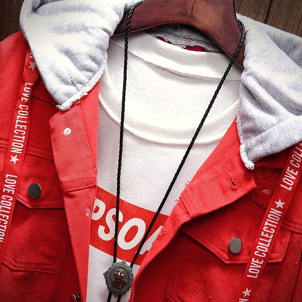 ODRD Herren Pullover Jacke Parka Patchwork Denim Vintage Wash Distressed Mantel Hoodie M/änner Sweatshirt Zipper Daunenjacke Sweatjacke Strickjacke Kapuzenpulli Outwear Walking Clearance Sale M-3XL