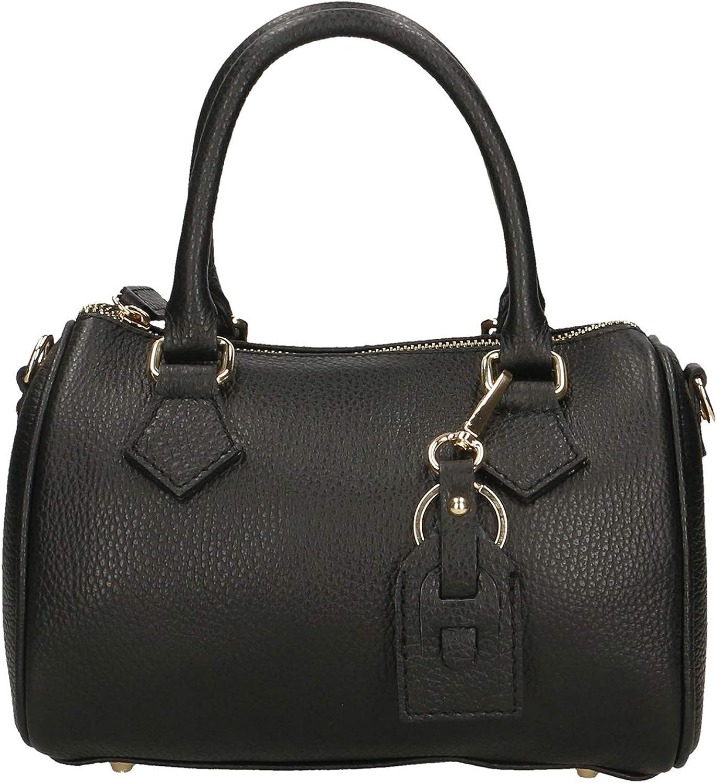 Chicca Borse bolso Mujer en cuero genuino 22x15x13 Cm Negro