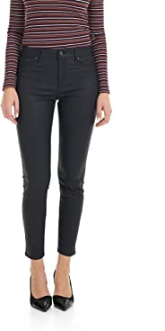 Suko Jeans Women's Wax Coated Denim Pants - Skinny - High Waisted - Faux Leather