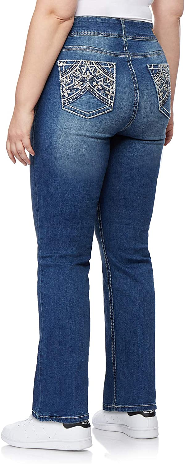 WallFlower Womens Plus-Size Embellished Pocket Luscious Curvy Bootcut Jeans