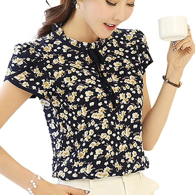 50f1901639a Tubaozi Women Floral Print Ruffled Tie Bow Neck Short Sleeve Shirts Blouse  Tops Plus Size (