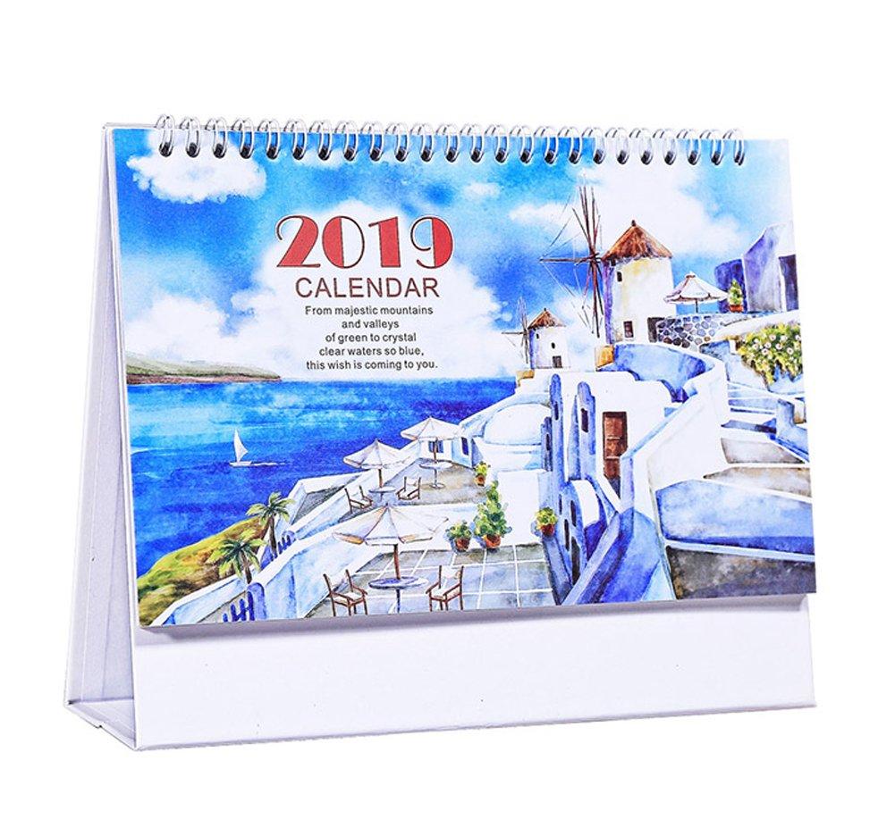 2018 – 2019美しいオフィスデスクカレンダー、エーゲ海   B07FDSHPR8