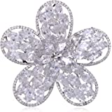 Alilang Swarovski Crystal Elements Clear Marquise Cut Stone Five Petal Flower Pin Brooch