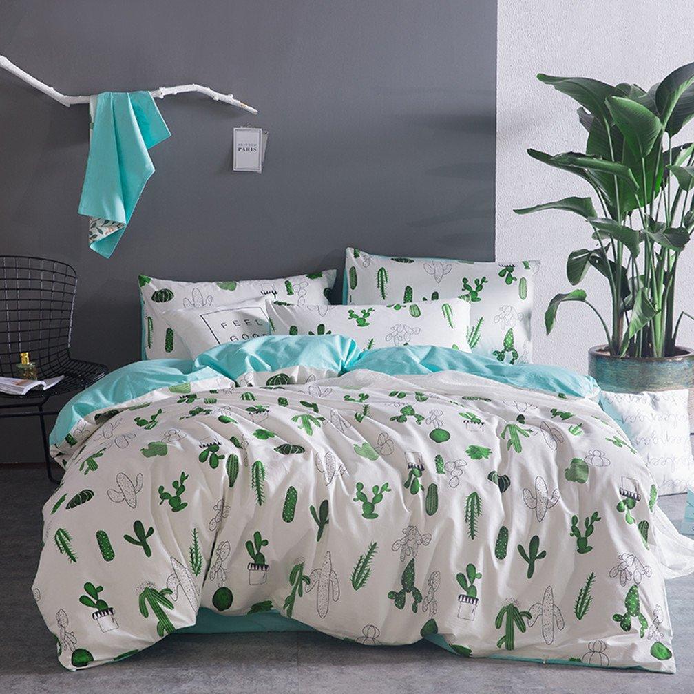 100% Baumwolle Bettbezug-Set 4-teilig Idyllisch Stil Pflanze Blumenmuster Kissenbezug Bettwäsche-Set Doppel King Größe 1 Bettbezug 1 Flat Sheet 2 Kissenbezüge (Kaktus, 220x240cm)