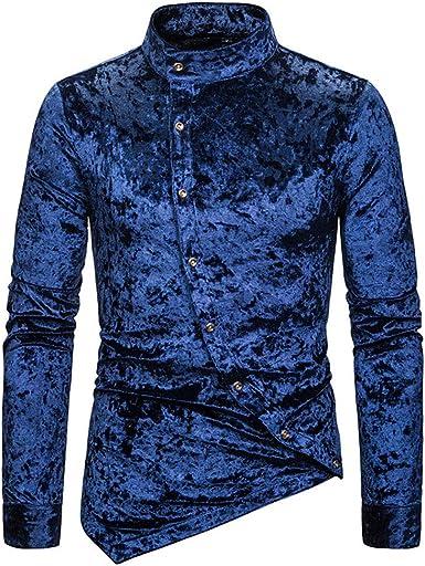 Camisa para Hombre - Moda Manga Larga Cuello Abotonado Shirt Básica Steampunk Casual Slim Fit Camiseta Blusa Tops: Amazon.es: Ropa y accesorios