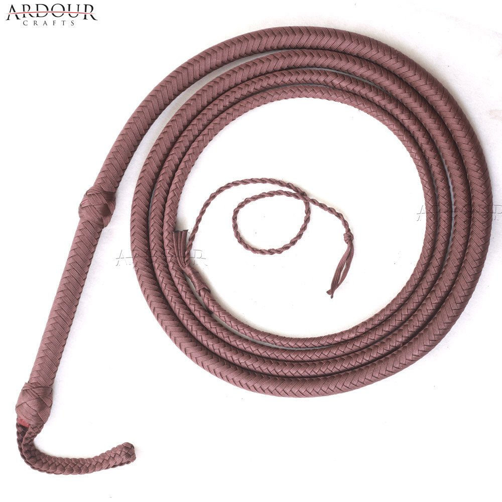 6 to 16 Feet Long Nylon para-Cord Bullwhip 12 Plaits Paracord Custom Bull Whip with Leather Belly & Bolster Construction Brown Ardour Crafts International