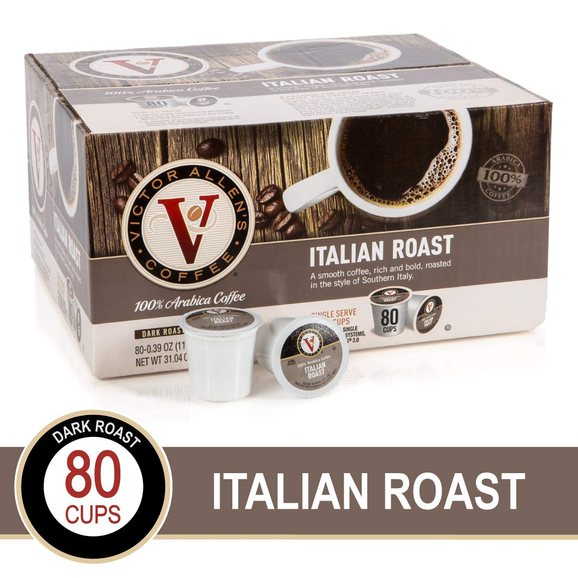 Italian Roast for K-Cup Keurig 2.0 Brewers, 80 Count, Victor Allen's Coffee Dark Roast Single Serve Coffee Pods by Victor Allen