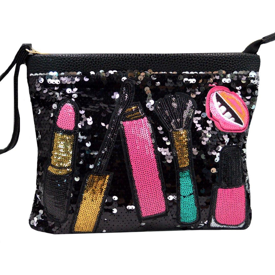 Ofila Women's Dazzling Sequins Clutch Bag Purse Zipper Shoulder Cross Body Bag Wristlet Handbag Black