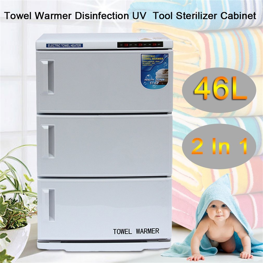 2 In 1 Disinfection Cabinet, Spa Sterilizer Machine For Beauty Salon Spa Massage (46L)
