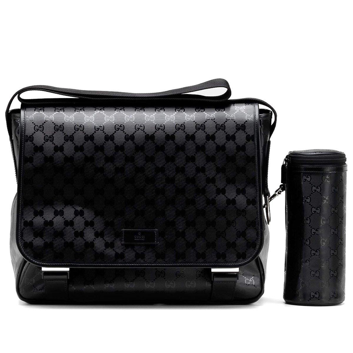 216cf062709d Amazon.com : Gucci Mama's Bag Black Imprime Leather Gg Logo Baby Diaper Bag  270794 : Baby