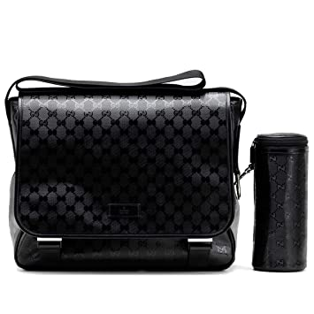 2596cf3b355e74 Amazon.com : Gucci Mama's Bag Black Imprime Leather Gg Logo Baby ...