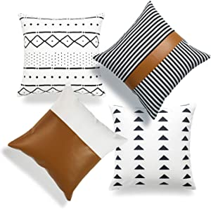 """Hofdeco Mudcloth Faux Leather Pillow Covers ONLY, White Camel Triangle, 18""""x18"""", Set of 4"""