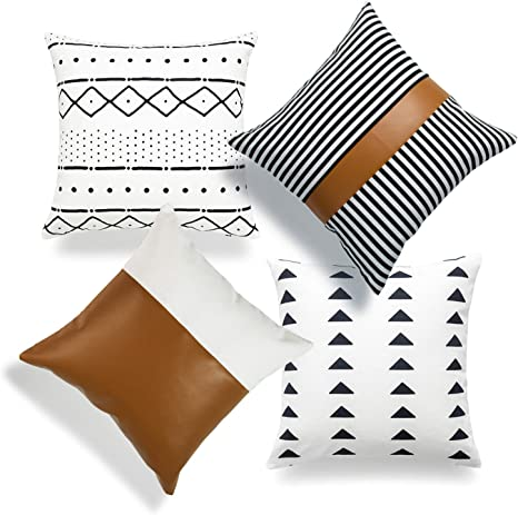 hofdeco mudcloth faux leather pillow covers only white camel triangle 18 x18 set of 4